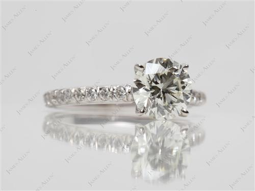 White Gold 1.03 Round cut Micro Pave Engagement Rings