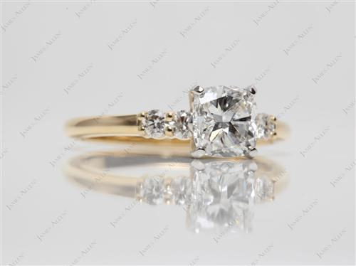 Gold 1.01 Cushion cut Sidestone Engagement Ring