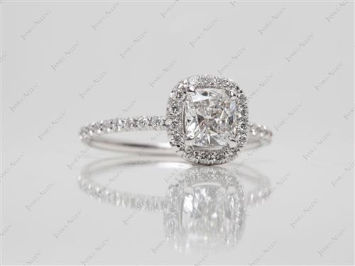 White Gold 0.85 Cushion cut Engagement Rings Pave