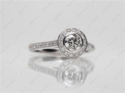White Gold 0.66 Round cut Pave Ring Set