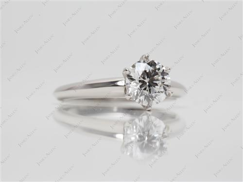 Platinum 0.90 Round cut Solitaire Diamond Rings