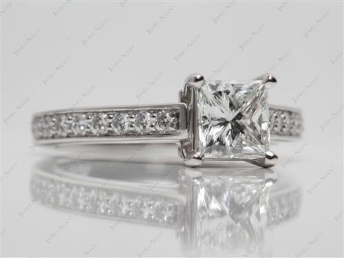 Platinum 1.06 Princess cut Pave Ring Setting