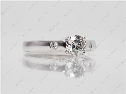 White Gold 0.51 Round cut Solitaire Rings