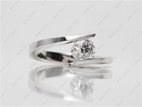 White Gold 0.65 Round cut Round Solitaire Ring