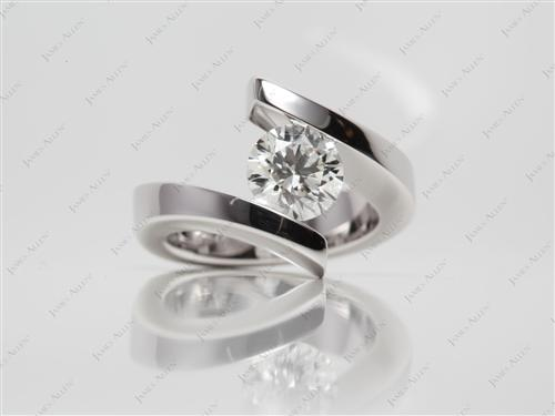 White Gold 1.32 Round cut Engagement Rings