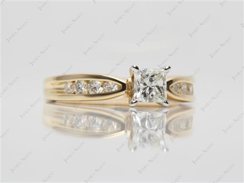 Gold 0.51 Princess cut Channel Engagement Rings