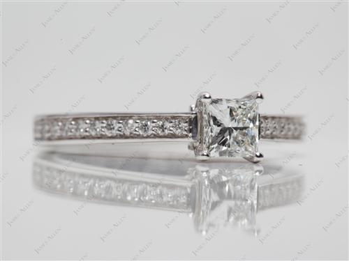 White Gold 0.50 Princess cut Pave Ring Set