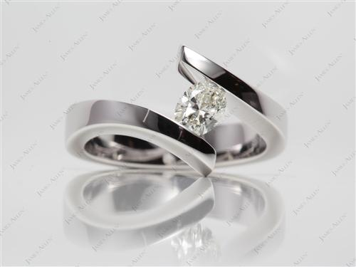 White Gold 0.70 Oval cut Diamond Tension Rings