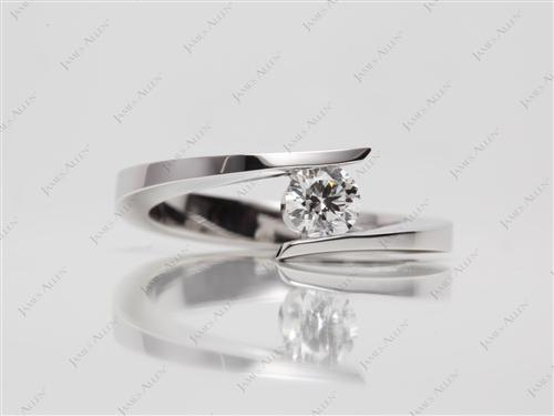 White Gold 0.36 Round cut Solitaire Diamond Ring