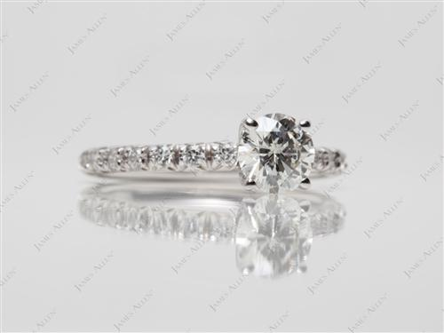 White Gold 0.70 Round cut Pave Ring