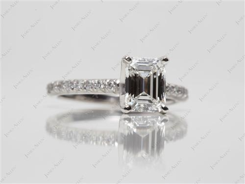 Platinum 1.20 Emerald cut Pave Diamond Engagement Ring