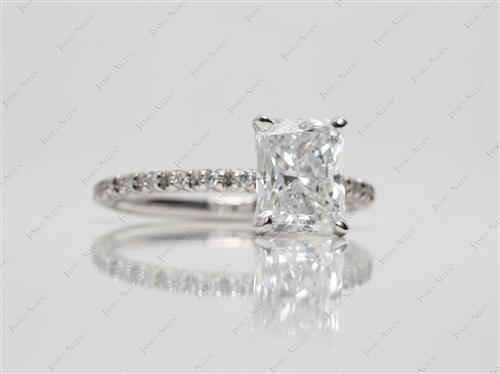 Platinum 1.80 Radiant cut Pave Setting Rings