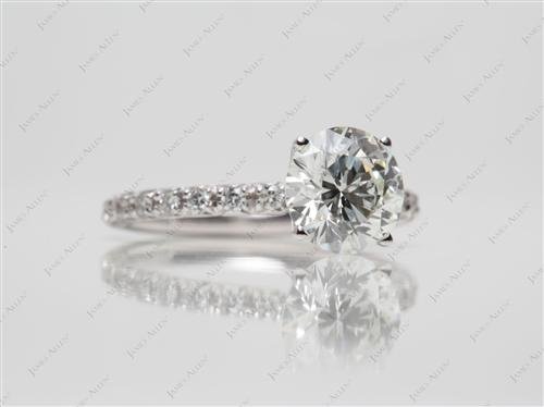 White Gold 1.80 Round cut Pave Engagement Rings
