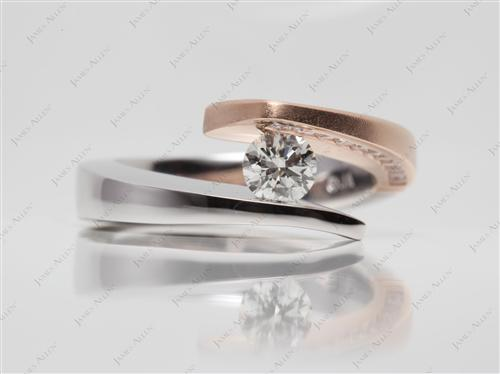 White Gold 0.50 Round cut Tension Setting Engagement Rings