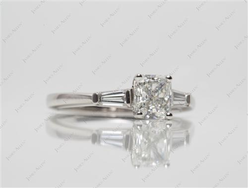 Platinum 1.16 Radiant cut Side Stone Engagement Ring