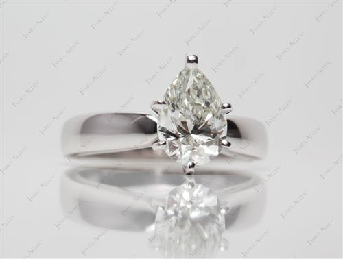 White Gold 1.40 Pear shaped Solitaire Engagement Rings