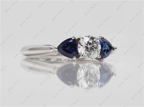 White Gold 0.52 Round cut Gemstone Diamond Ring