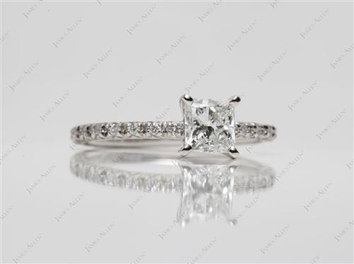 Platinum 0.70 Princess cut Wedding Rings
