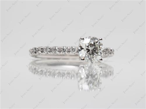 Platinum 0.82 Round cut Pave Engagement Rings
