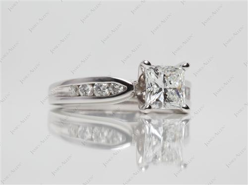 Platinum 1.06 Princess cut Channel Rings