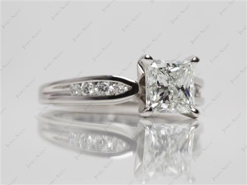 Platinum 2.02 Princess cut Channel Set Diamond Rings
