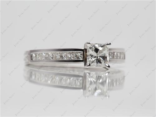 White Gold 0.65 Radiant cut Wedding Sets Jewelry