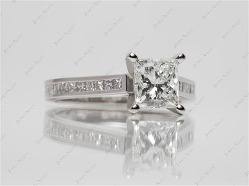 Platinum 1.40 Princess cut Channel Set Diamond Engagement Ring