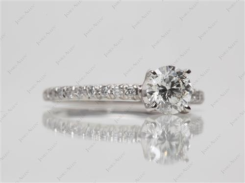 Platinum 0.75 Round cut Pave Diamond Engagement Rings