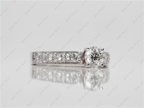 White Gold 0.50 Round cut Pave Setting Rings