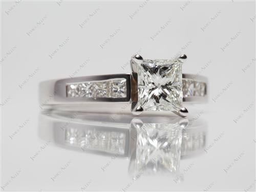 White Gold 1.13 Princess cut Bridal Wedding Sets