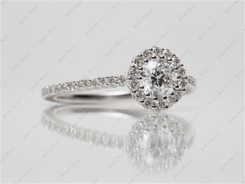 White Gold 0.70 Round cut Micro Pave Setting