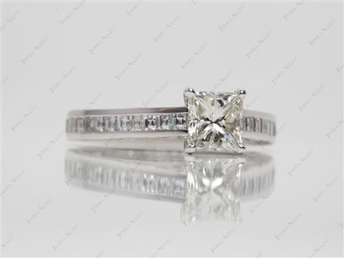 Platinum 1.01 Princess cut Channel Set Diamond Engagement Rings