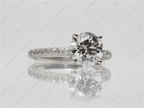 Platinum 1.33 Round cut Micro Pave Engagement Rings