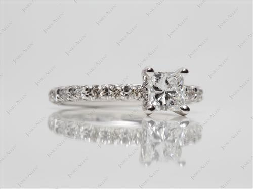 White Gold 0.58 Princess cut Engagement Ring