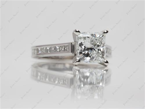 Platinum 2.02 Princess cut Channel Rings