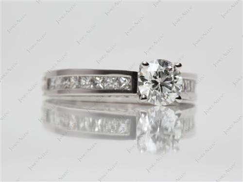 Platinum 0.76 Round cut Pave Wedding Sets