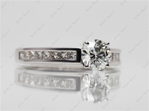 White Gold 0.75 Round cut Channel Set Engagement Ring