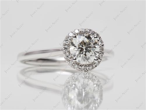 White Gold 0.70 Round cut Pave Setting Rings