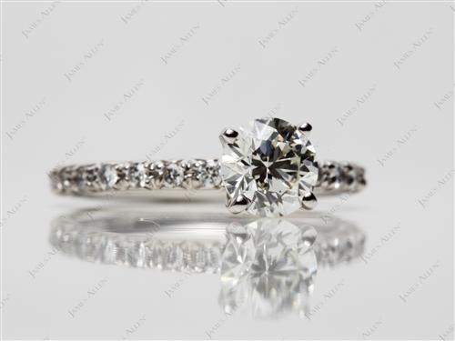 Platinum 0.92 Round cut Pave Ring Settings