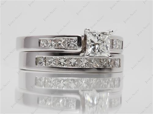 White Gold 0.73 Princess cut Wedding And Engagement Ring Sets
