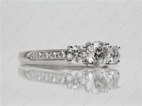 Platinum 0.75 Round cut Sidestone Engagement Ring