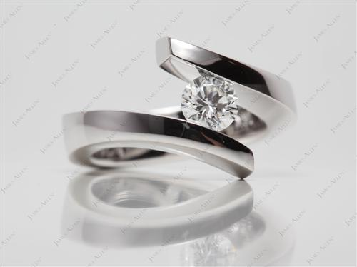 White Gold 0.49 Round cut Engagement Rings