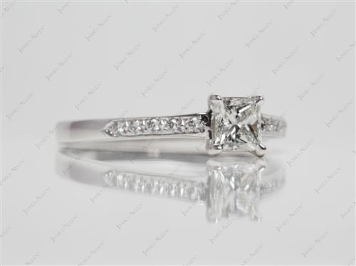 White Gold 0.52 Princess cut Pave Diamond Rings