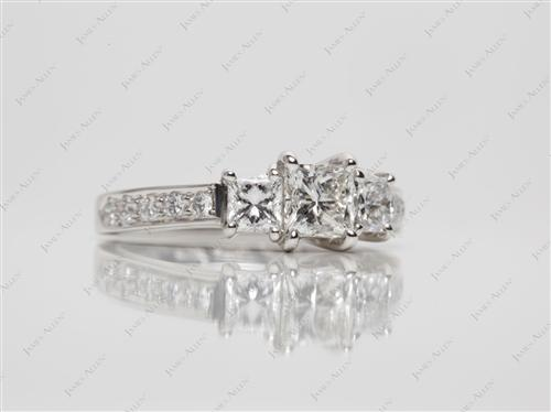Platinum 0.51 Princess cut Engagement Ring Side Stones