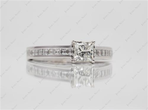 White Gold 0.50 Princess cut Diamond Channel Rings