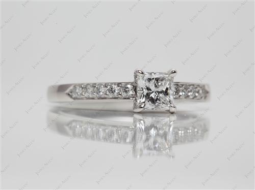 Platinum 0.58 Princess cut Pave Ring Setting
