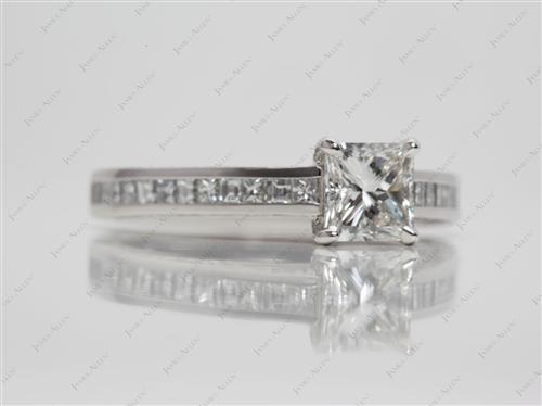 Platinum 1.01 Princess cut Channel Set Diamond Engagement Ring