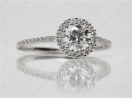 Platinum 1.00 Round cut Micro Pave Diamond Ring