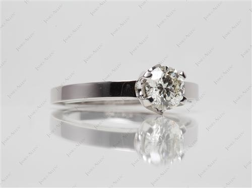 White Gold 0.80 Round cut Solitaire Ring