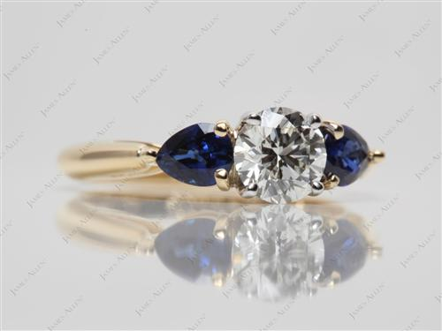 Gold 0.75 Round cut Gemstone Engagement Ring